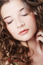 Beautiful woman with closed eyes this image has attached release Stock Images