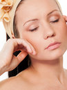 Beautiful woman with closed eyes sensuality young closeup and natural skin Stock Photos
