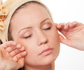 Beautiful woman with closed eyes sensuality young closeup and natural skin Stock Image