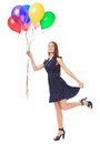 Beautiful woman with colorful balloons full length portrait of romantic young in polka dot dress having fun isolated on white Stock Images