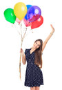 Beautiful woman with colorful balloons portrait of young happy in polka dot dress holding her hand up isolated on white background Royalty Free Stock Photos