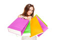 Beautiful woman with colorful shopping bags Stock Photo