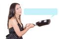 Beautiful woman and cooking pan with text box Royalty Free Stock Photo