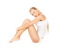 Beautiful woman in cotton underwear Stock Photos