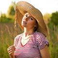 Beautiful woman in a countryside Stock Photography