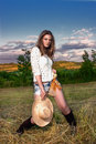 Beautiful woman in a countryside Royalty Free Stock Images