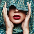 Red lips make-up girl.part of female face Royalty Free Stock Photo