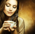 Picture : Beautiful Woman with cup of Coffee  card glasses