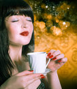Beautiful woman with cup coffee aromatic coffee Stock Image