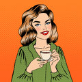 Beautiful Woman with Cup of Coffee. Pop Art Royalty Free Stock Photo