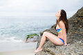 Beautiful woman in cute bikini relaxing at beach and colorful Royalty Free Stock Image