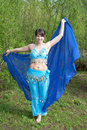 Beautiful woman dances on nature Arabic dances Royalty Free Stock Photos