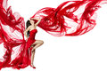 Woman Red Dress Flying On Wind...