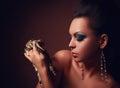 Beautiful Woman with dangerous snake Royalty Free Stock Photo