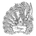 Beautiful woman with a decorative flower frame. Zodiac Art Nouveau luxury style set. Virgo. Tattoo design. Black linear drawing is Royalty Free Stock Photo