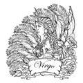Beautiful woman with a decorative flower frame. Zodiac Art Nouveau luxury style set. Virgo. Tattoo design. Black linear drawing is