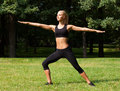 Beautiful woman doing yoga exercises summer Royalty Free Stock Photos