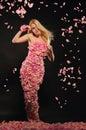 Beautiful woman in dress of rose petals Royalty Free Stock Photo