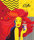 Beautiful Fashion Woman drinking coffee cup Pop Art Poster Royalty Free Stock Photo