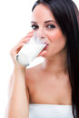 Beautiful woman drinking milk cocktail Royalty Free Stock Photo