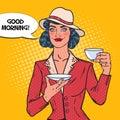 Beautiful Woman Drinking Morning Tea in Cafe. Coffee Break. Pop Art illustration