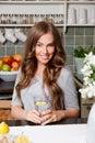 Beautiful woman drinking water with lemon Royalty Free Stock Photo