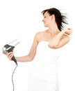 Beautiful woman drying her hair by dryer Stock Photo
