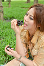 Beautiful woman eat fruit Stock Photo