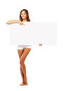 Beautiful woman with empty white board Royalty Free Stock Photo