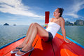 Beautiful woman enjoying boat trip in Thailand Royalty Free Stock Photography