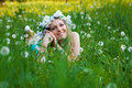 Beautiful Woman Enjoying Dandelions Field Stock Photography