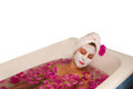 Beautiful woman enjoying floral bath Royalty Free Stock Photo