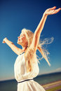 Beautiful woman enjoying summer outdoors lifestyle concept Royalty Free Stock Photo