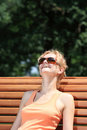 Beautiful woman  enjoying the sun Royalty Free Stock Photo