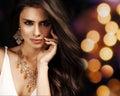 Beautiful woman with evening make up jewelry and beauty fashion photo Stock Image