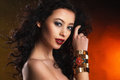 Beautiful woman with evening make up jewelry and beauty fashion photo Royalty Free Stock Photo