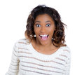 A beautiful woman excited and taken aback in surprise closeup portrait of happy cute young looking shocked surprised disbelief Stock Photos