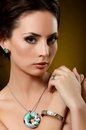 Beautiful woman with expensive jewelry Stock Photos