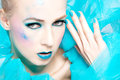 Beautiful woman with extreme colorful make up Royalty Free Stock Images