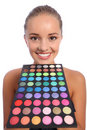 Beautiful woman with eyeshadow colour 60 palette Stock Images