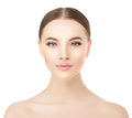 Beautiful woman face close up studio on white. Beauty spa model Royalty Free Stock Photo