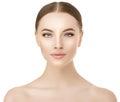 Beautiful woman face close up studio on white. Beauty spa model
