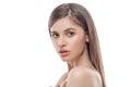 Beautiful woman face close up studio on white Royalty Free Stock Photo