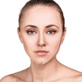 Beautiful woman face with correction line. Royalty Free Stock Photo