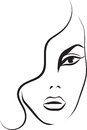 Beautiful woman face fashion sketch Stock Photos