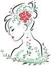 Beautiful woman face from side profile with red lips surrounded by green leaves, butterflies and red flower bouquet in hair Royalty Free Stock Photo