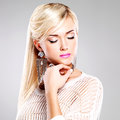 Beautiful woman with fashion makeup and long white hairs portrait of bright Stock Photo