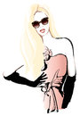 Beautiful woman fashion model with long blond hair