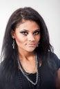 Beautiful woman fashion portrait close up face makeup black hair young studio shot Stock Image