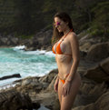 Beautiful Woman With Fit Body In Sexy Bikini,Tropical Cliff Royalty Free Stock Photo